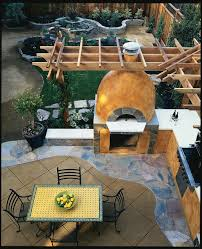 outdoor pizza oven patio farmhouse with bbq traditional