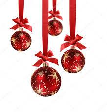 christmas balls red ribbon u2014 stock photo anterovium 9388436