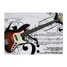 Guitar Area Rug Guitar And Musical Notes 5 X7 Area Rug By Wickeddesigns4