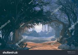 halloween scenery background 3d rendering enchanted dark forest moonlight stock illustration