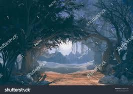 halloween forest background 3d rendering enchanted dark forest moonlight stock illustration