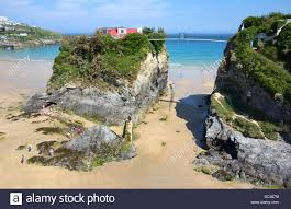 the island and house on towan beach in newquay cornwall uk stock