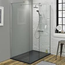 1400 Shower Door Summit 1400 X 900mm Walk In Shower With End Panel Slate Effect