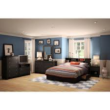 Bookcase Headboard With Drawers South Shore Vito 5 Drawer Pure Black Chest 3170035 The Home Depot