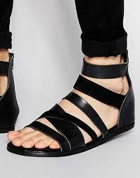 counter genuine asos gladiator sandals black leather men 00674