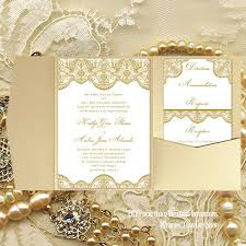 pocket fold pocket fold wedding invitations vintage lace 2 gold 5x7 wedding