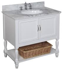 White Bathroom Vanity With Carrera Marble Top by Beverly Bath Vanity Traditional Bathroom Vanities And Sink