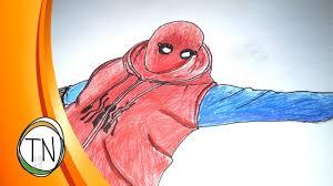 drawn spider man spiderman costume pencil and in color drawn