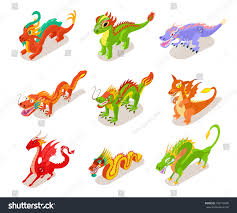 dragons for children collection fairytale dragons icons children stock vector