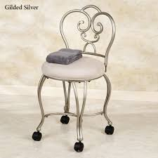 Bathroom Vanity Chairs Light Broen Polished Iron Vanity Stool With Microfiber