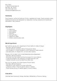 Sample Resume For Hostess by Professional Food Inspector Templates To Showcase Your Talent