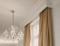 Curtain Crown Molding Cornice Melds With Ceiling Crown Molding Idea Will Hide Traverse