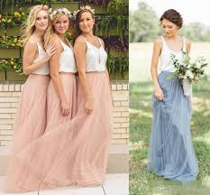 2017 cheap summertwo piece country style boho bridesmaid dresses