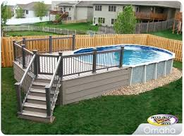 deck around semi inground pool wrap around pool deck design