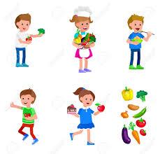 cuisine avec enfant mignon enfant caractère vecteur et des aliments sains enfant avec