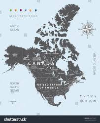 Map Of Canada With Cities by Map Canada Usa Mexico States Borders Stock Vector 296772653