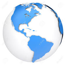 North America South America Map by Earth Globe Map Side Of The North And South America Stock Photo