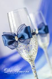 Royal Blue And Silver Wedding Royal Blue And Silver Wedding Champagne Glasses By Diamoreds