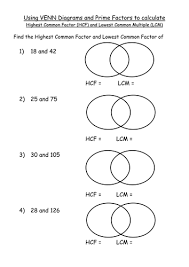 maths ks4 worksheet u2013 hcf and lcm venn diagram pfd by