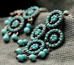 Beaded Turquoise Chandelier Bohemian Style Turquoise Beaded Chandelier Earrings Wholesale