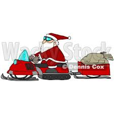 deliver presents illustration of santa claus snowmobiling to deliver presents his