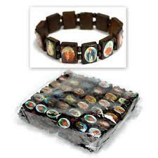 saints bracelet saints bracelets brown wood bead stretch religious catholic