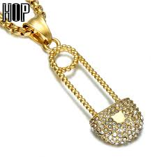 men crystal necklace images Hip hop bling iced out pin lock men pendants necklaces gold color jpg