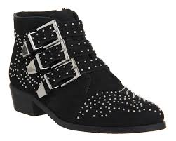 buy boots in uk buy black nubuck office lucky charm studded buckle boots