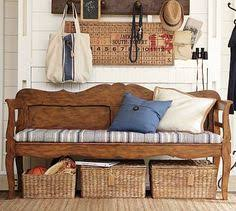 Church Pew Home Decor Home Organizing Ideas Organizing A Narrow Entry Large Round