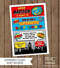 custom printed superhero comic baby shower invitations 1 00