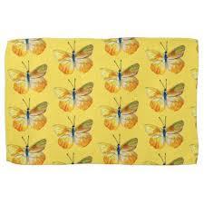 yellow butterfly watercolor tea towel butterfly watercolor