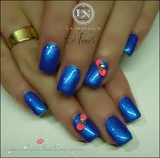 luminous nails electric blue gel nails with 3d neon guava bows