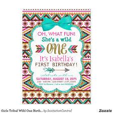 First Year Invitation Birthday Cards Tribal Wild One Party Invite Birthday Baby U0027s First Birthday By