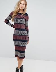 vero moda knitted stripe midi dress women navy dresses 1147547