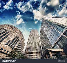 group modern buildings london financial district stock photo
