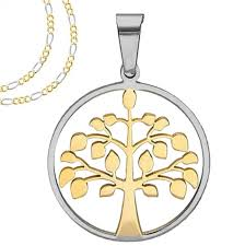 tone gold necklace images Two tone gold and silver round tree of life pendant with frame jpg