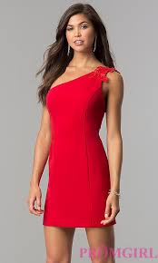 red one shoulder short homecoming dress promgirl