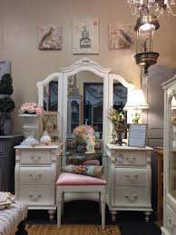 gorgeous shabby chic stanley vanity with full length mirror glass