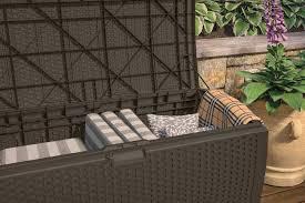 Patio Storage Chest by Patio Deck Box Outdoor Garden Storage Box Trunk Resin Wicker
