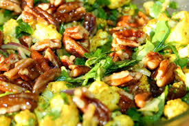 curried cauliflower salad with celery mint and apricots greens