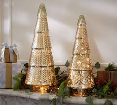 lit gold etched mercury trees pottery barn