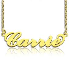 plated gold name necklace personalized carrie name necklace 18k gold plated