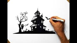 how to draw a haunted house halloween youtube