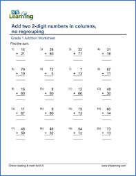 grade 1 math worksheet adding two 2 digit numbers in columns
