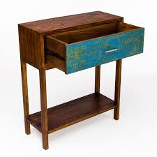 Reclaimed Boat Wood Furniture Perahu Accent Table W Drawer Reclaimed Boat Teak Accent