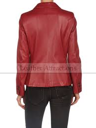 milan women red leather blazer