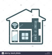 iot or internet of things stylized letters in house symbol modern