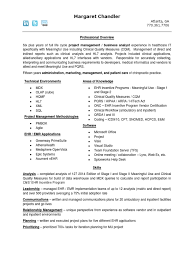 Project Analyst Resume Sample Ehr Trainer Resume Cv Cover Letter