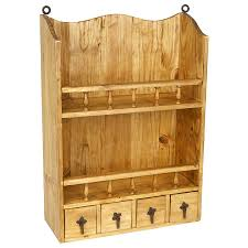 kitchen wall mounted cabinets wall mount rustic pine open shelf with 4 small drawers