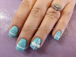 tiffany nails with 3d bows and swarovski crystals nails